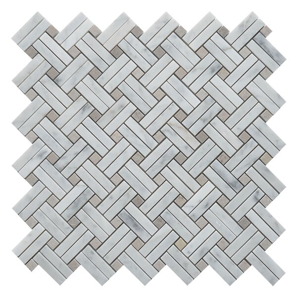 Knot Basket Random Sized Marble Mosaic Tile in White/Walnut by Matrix Stone USA