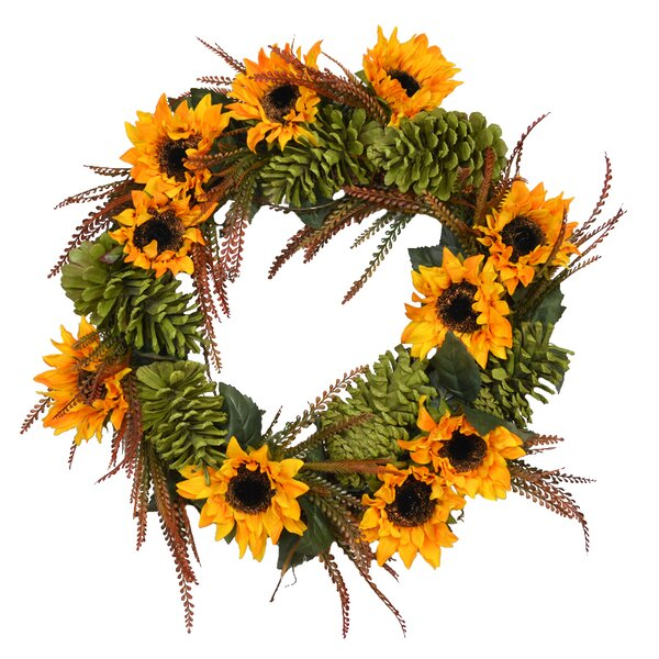 Autumn 26 Sunflower Wreath by August Grove