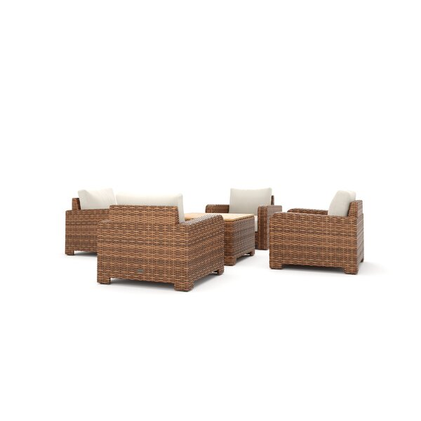 Nico 5 Piece Rattan Multiple Chairs Seating Group with Sunbrella Cushions