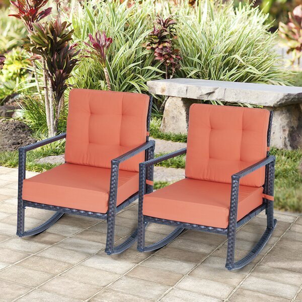 Allerie Outdoor Rocking Chair with Cushions (Set of 2) by Latitude Run