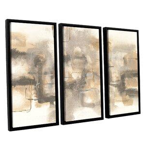 Platinum Neutrals I 3 Piece Framed Painting Print on Canvas Set by Latitude Run