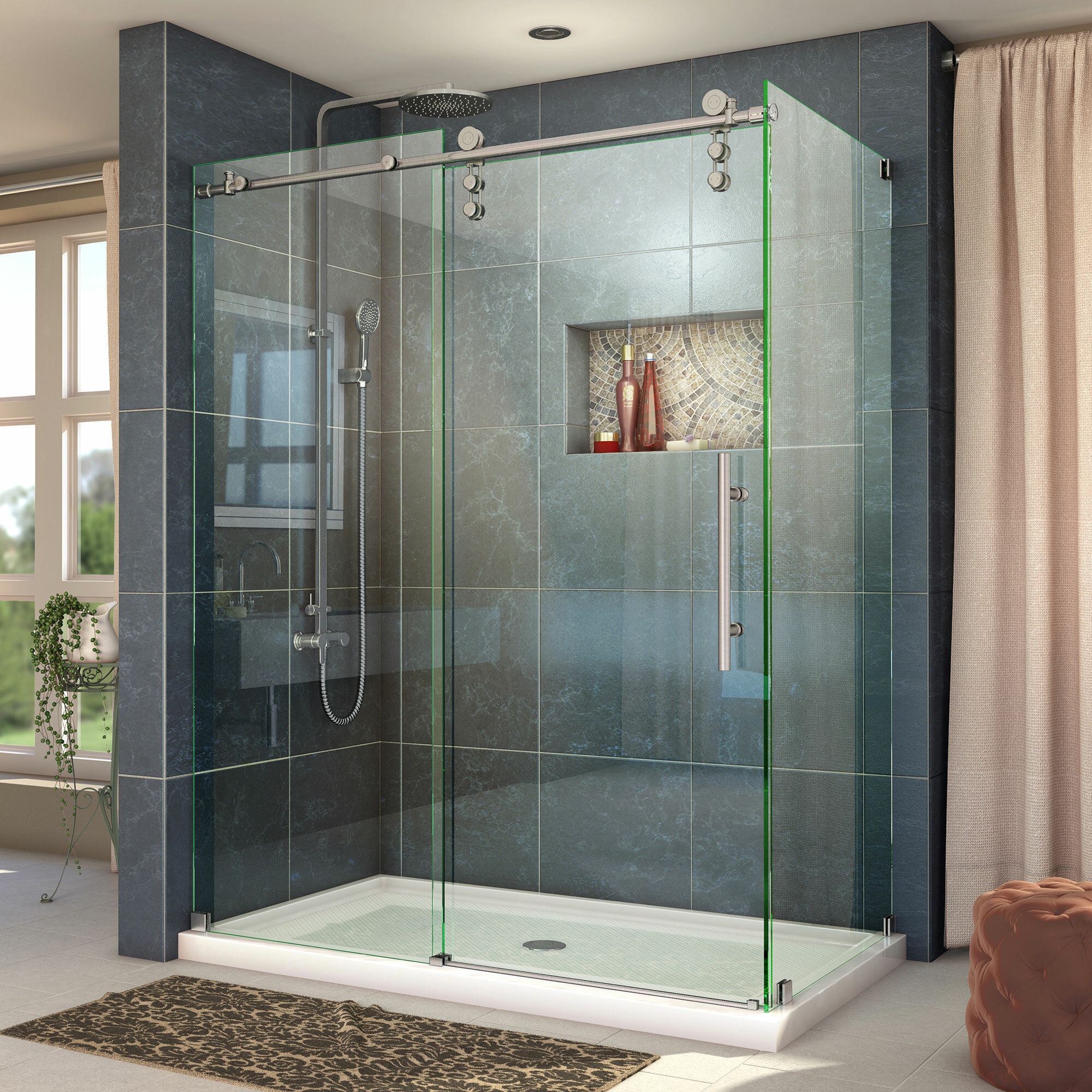 Enigma Z 60 38 X 76 Single Sliding Frameless Shower Door With Clear Max Technology