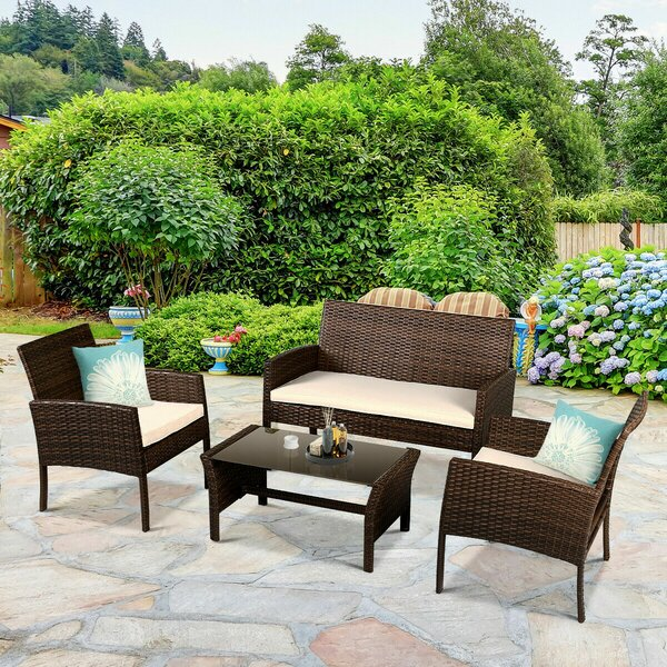 Block 4 Pieces Rattan Sofa Seating Group Conversation Set with Cushions by Bay Isle Home