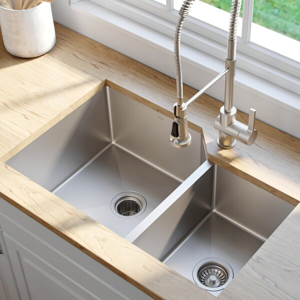32 L x 20 W Double Basin Undermount Kitchen Sink by Kraus