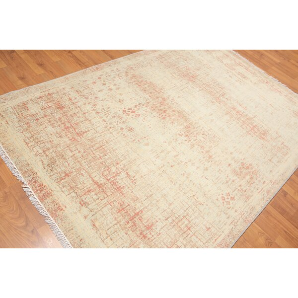 One-of-a-Kind Priston Hand-Knotted Wool Beige/Brown Area Rug by Bloomsbury Market