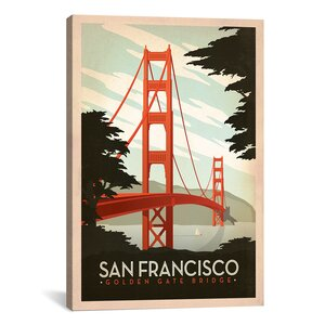 'Golden Gate Bridge San Francisco, California' Vintage Advertisement on Canvas by East Urban Home