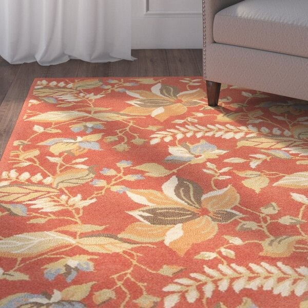 Donoghue Hand-Hooked Wool Rust Area Rug by Charlton Home