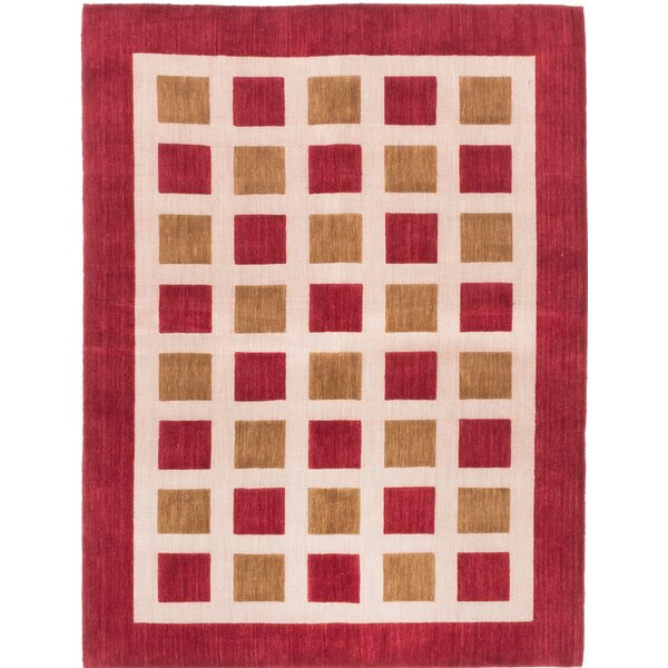 One-of-a-Kind Jones Street Hand-Knotted Dark Red/Ivory Area Rug by Latitude Run