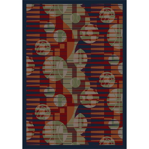 Keeping Score Red/Taupe Area Rug by The Conestoga Trading Co.