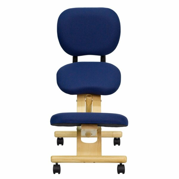Mobile Wooden High-Back Mesh Kneeling Chair by Offex