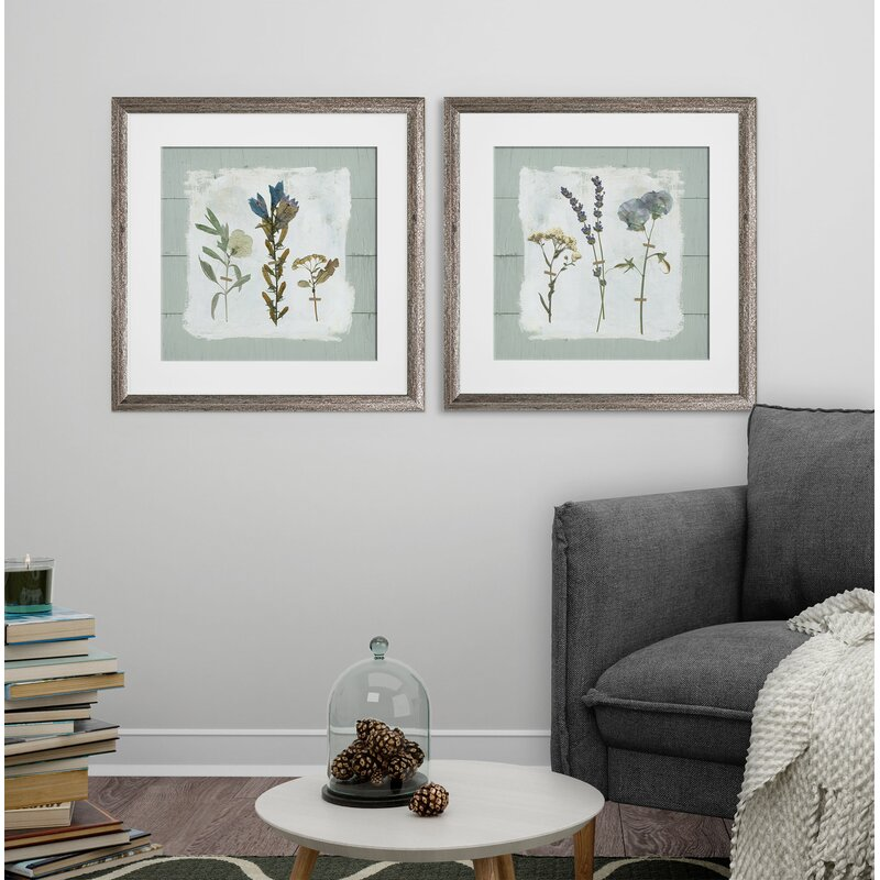 Gracie Oaks Pressed Flowers On Shiplap 2 Piece Framed Print Set