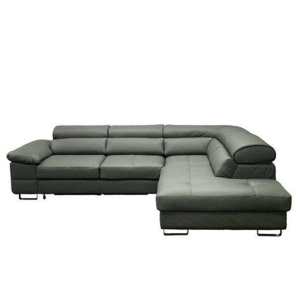 Pavel Leather Sleeper Sectional by Orren Ellis