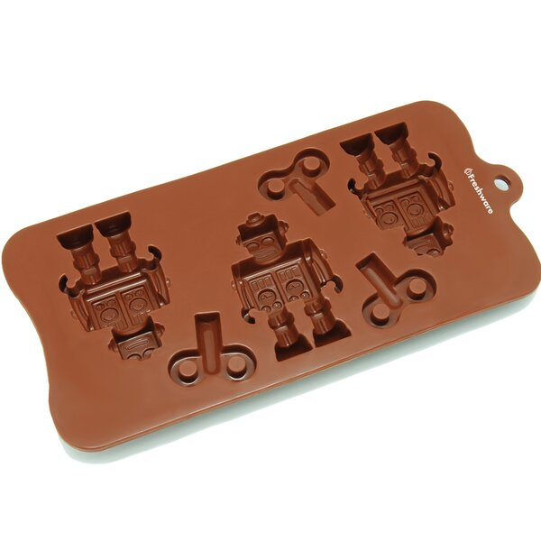 6 Cavity Robot and Key Silicone Mold Pan by Freshware