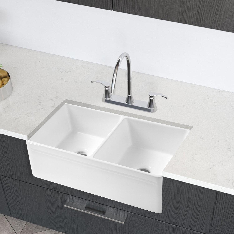 Watqen 33 L X 18 W Double Basin Farmhouse Kitchen Sink Wayfair
