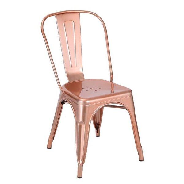 Richawara Metal Slat Back Side Chair in Gunmetal (Set of 4) by Brayden Studio Brayden Studio