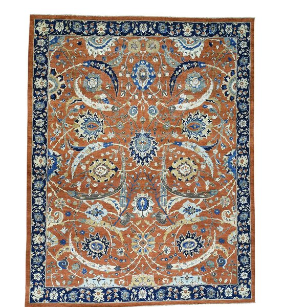 One-of-a-Kind Kensington Pre-Historic Hand-Knotted Rust Red/Navy Blue Area Rug by Canora Grey