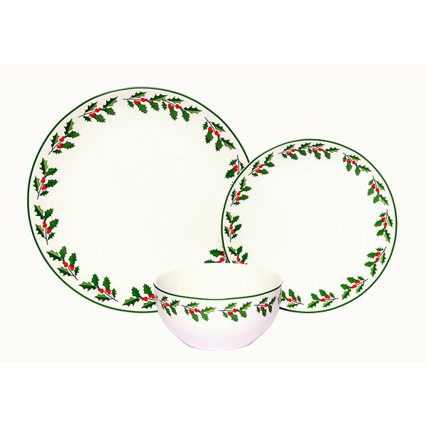 Holly Porcelain Coupe 18 Piece Dinnerware Set, Service for 6 by The Holiday Aisle