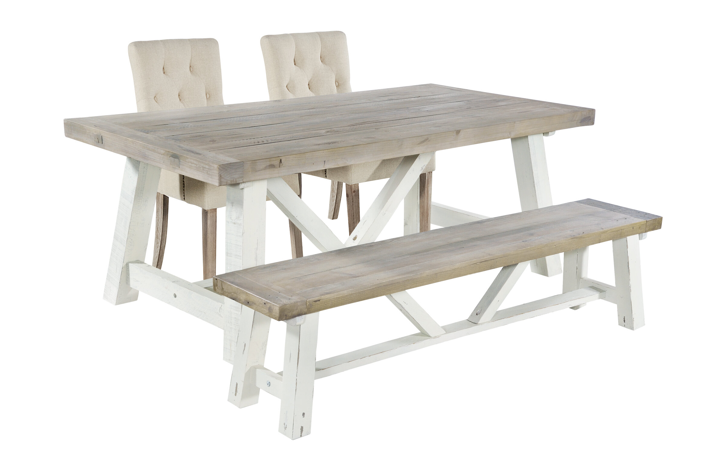 Anguilla Extendable Dining Set With 2 Chairs And One Bench