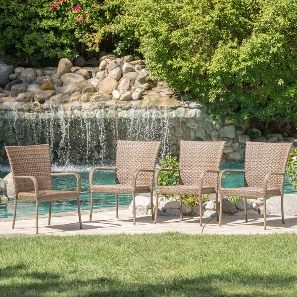Kaelyn Outdoor Wicker Armchair (Set of 4) by Laurel Foundry Modern Farmhouse