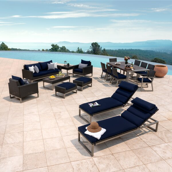 Gary 18 Piece Rattan Sunbrella Complete Patio Set with Cushions by Corrigan Studio