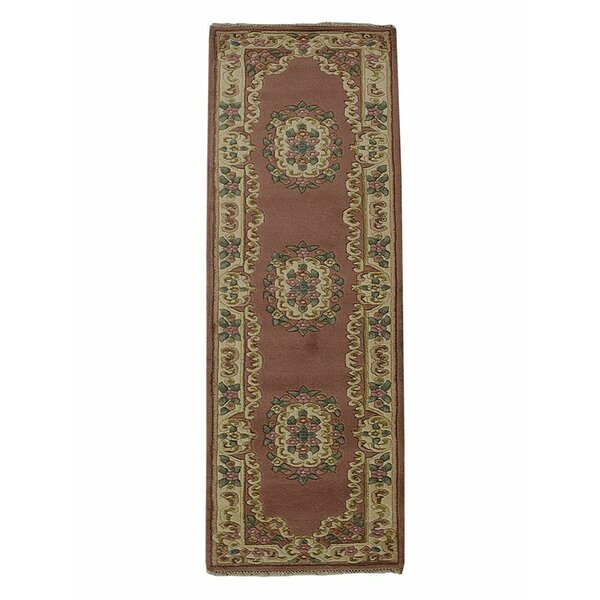 Selma Persian Hand-Woven Wool Rose/Cream Area Rug by Alcott Hill