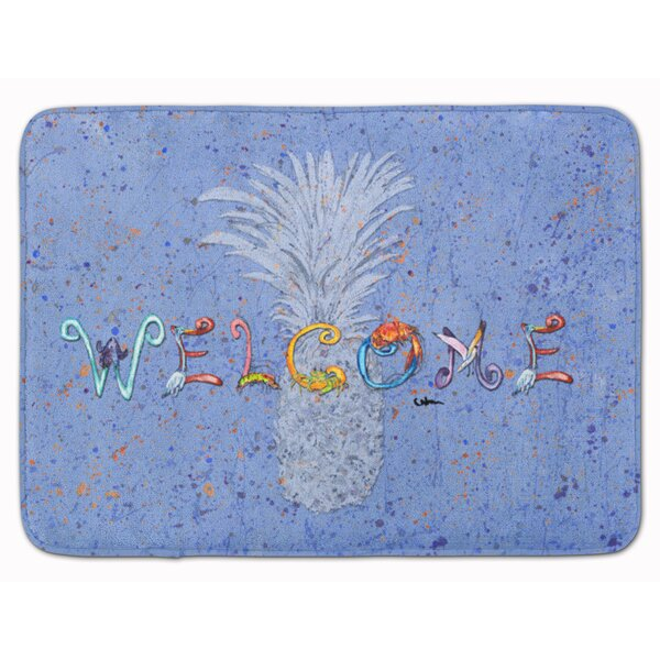 Esparza Pineapple Indoor or Outdoor Rectangle Microfiber Non-Slip Bath Rug