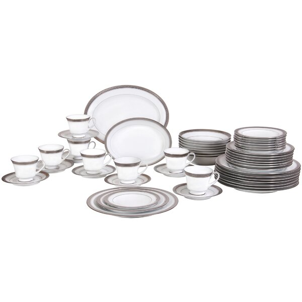 Crestwood Platinum 50 Piece Dinnerware Set, Service for 8 by Noritake