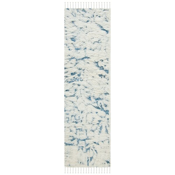 Duena Abstract Hand-Knotted Wool Ivory / Blue Area Rug