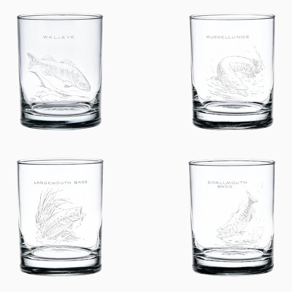 Freshwater Fish Double Old Fashioned 4 Piece 14 oz. Glass Cocktail Set by Ned Smith