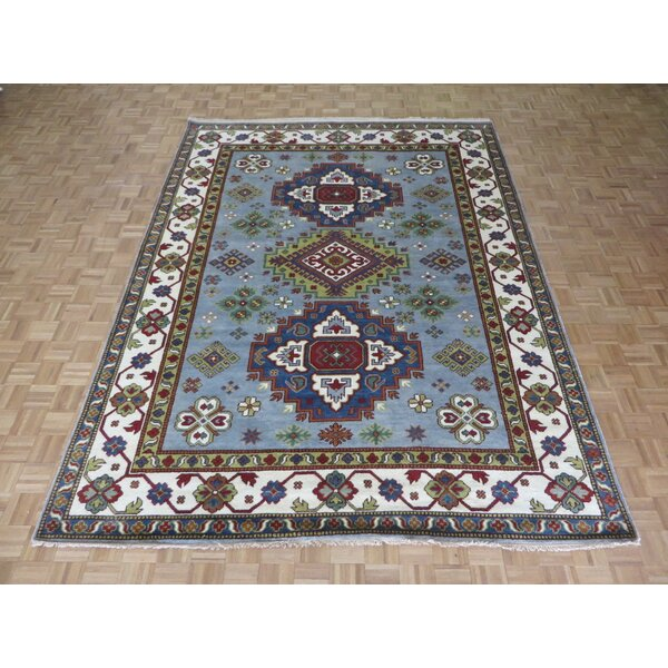 One-of-a-Kind Padula Tribal Hand-Knotted Wool Sky Blue Area Rug by Bloomsbury Market