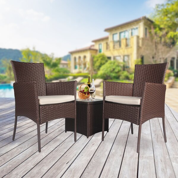 Willow 3 Piece Rattan Seating Group with Cushions by Ebern Designs