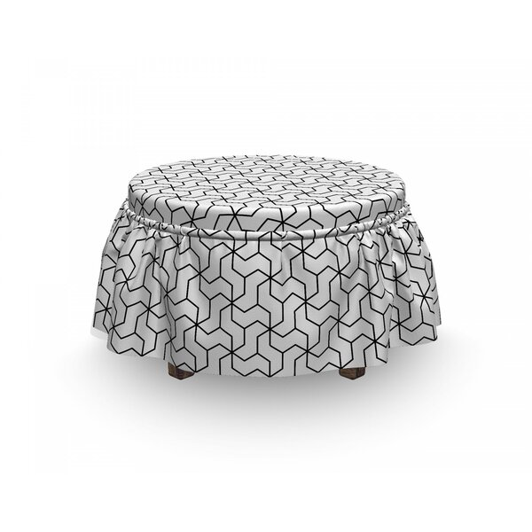 Geometric Motif 2 Piece Box Cushion Ottoman Slipcover Set By East Urban Home