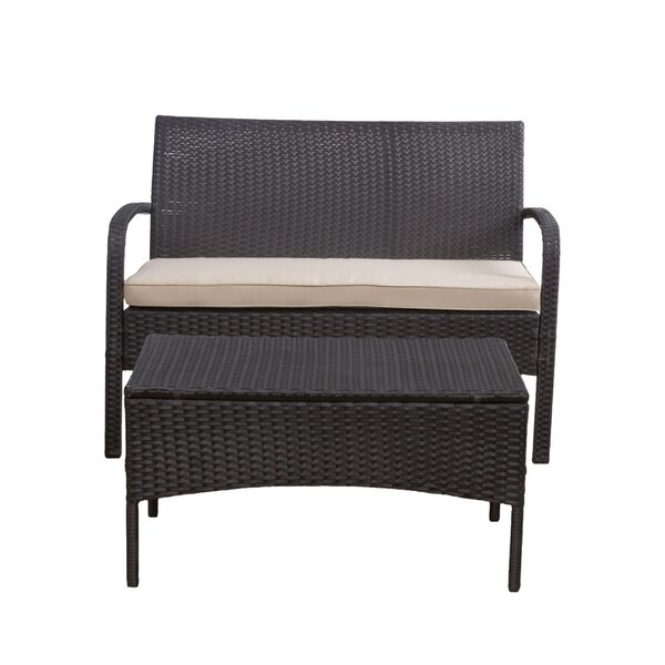 Deeanna Outdoor 2 Piece Sofa Seating Group with Cushions by Winston Porter