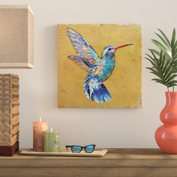 Turquoise Hummingbird Painting Print on Wrapped Canvas by Bay Isle Home