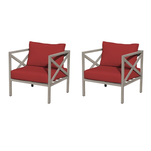 Wrenshall Patio Chair with Cushions (Set of 2) by Red Barrel Studio Red Barrel Studio
