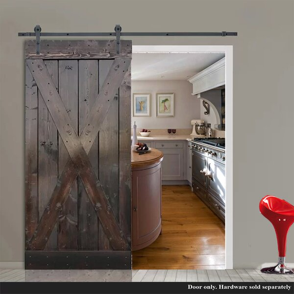Knotty Solid Wood Panelled Interior Barn Door by TMS