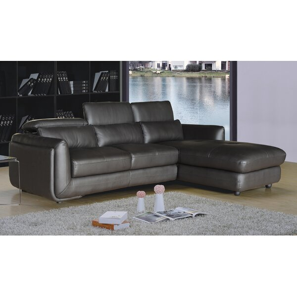 Birchwood Leather Reclining Sectional by Orren Ellis