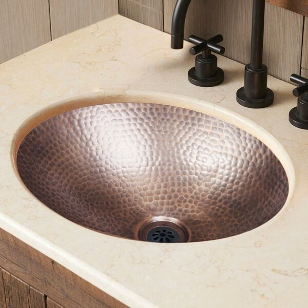 Hand Hammered Metal Oval Drop-In Bathroom Sink by Monarch Abode