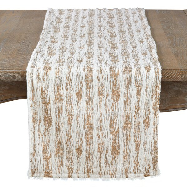 Silverstein Textured Faux Fur with Brushed Metallic Foil Print Runner by Mercer41