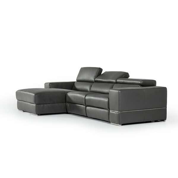 Best #1 Galena L-Shaped Leather Reclining Sectional By Wade Logan Find