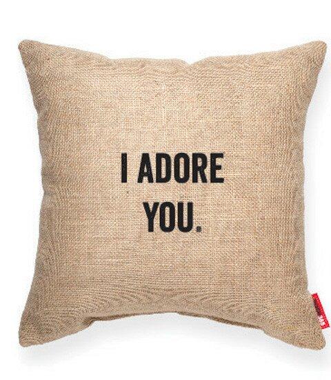 Expressive I Adore You Burlap Jute Throw Pillow by Posh365