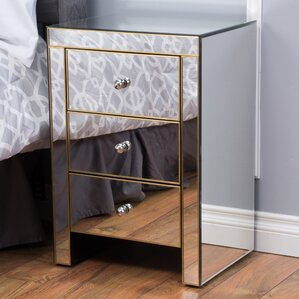 Bowerman 3 Drawer Mirrored End Table by Willa Arlo Interiors