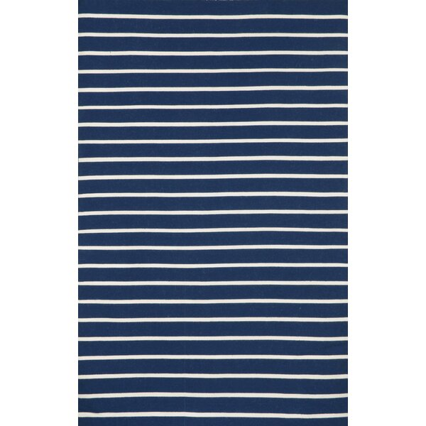 Ranier Pinstripe Hand-Woven Navy Indoor/Outdoor Area Rug by Beachcrest Home