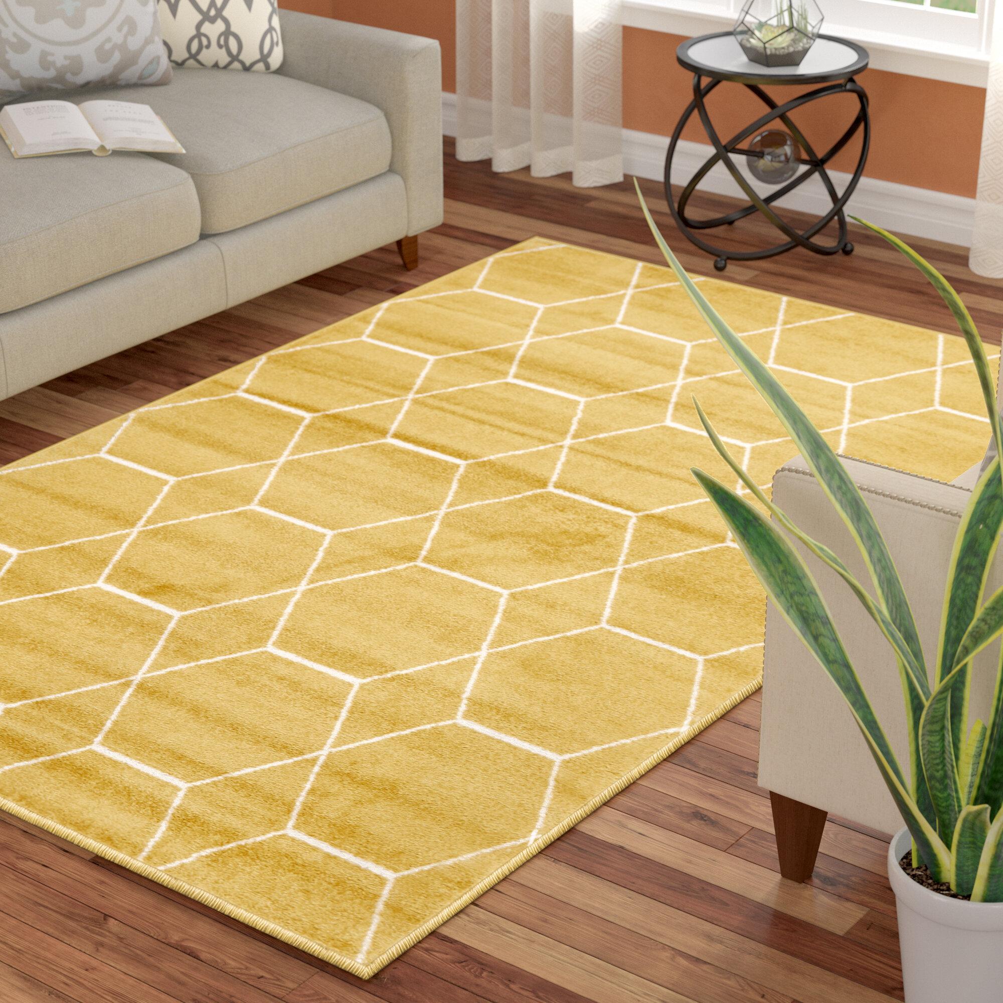 Elborough Geometric Yellow Area Rug