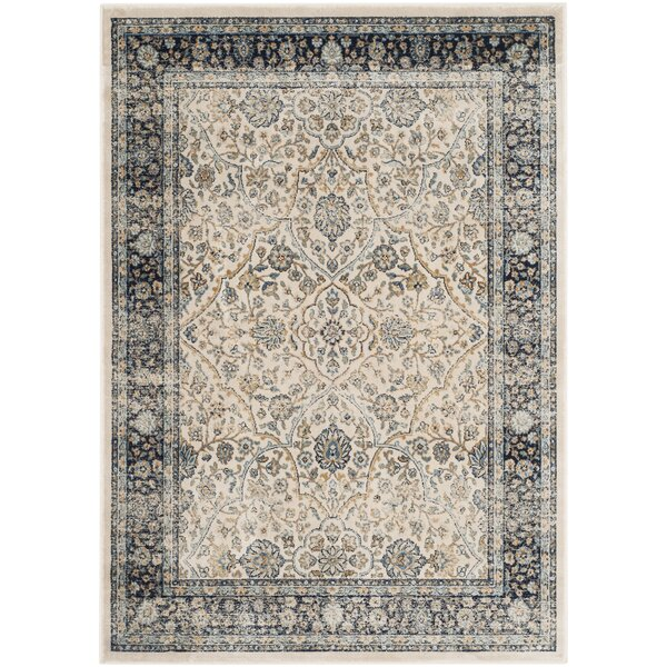 Persian Garden Vintage Ivory/Navy Area Rug by Darby Home Co