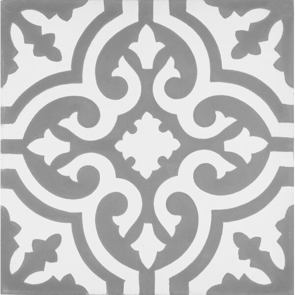 Mediterranea Floor II 8 x 8 Cement Hand-Painted Tile in Gray/White by Kellani