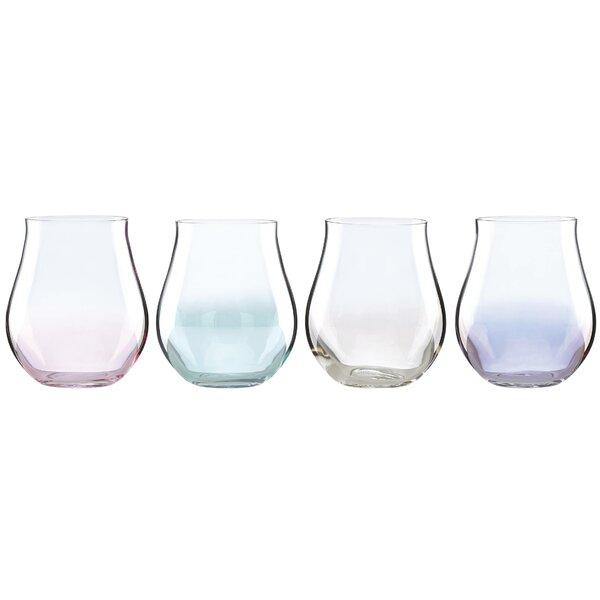 Tuscany Classics Lustre Pastel 12 oz. Stemless Wine Glass (Set of 4) by Lenox