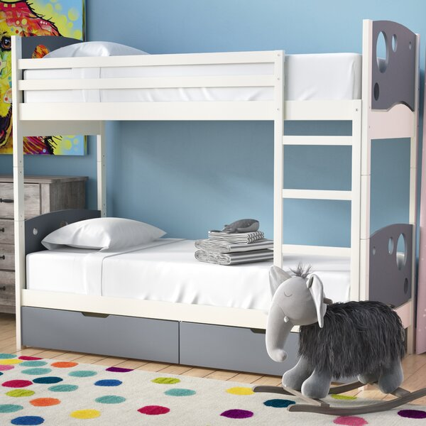 Dulcia Panel Toddler Bunk Bed with Mattress and Drawers by Mack & Milo