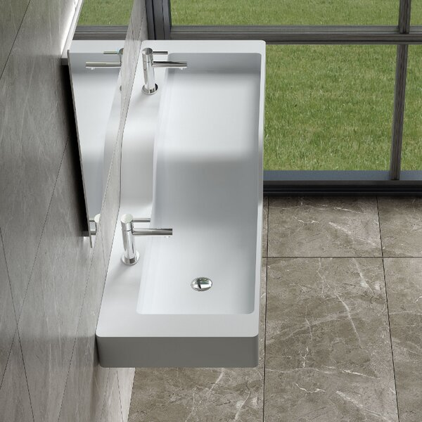 His & Hers Stone 59 Wall Mount Bathroom Sink by InFurniture