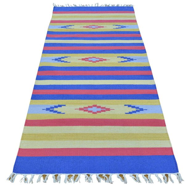 One-of-a-Kind Tomas Flat Weave Southwestern Killim Hand-Knotted Cotton Blue/Yellow Area Rug by Millwood Pines